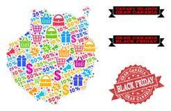 Collage de Black Friday del mapa de mosaico de Gran Canaria y del sello de la desolación libre illustration