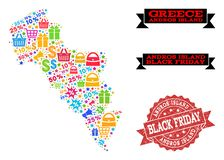 Collage de Black Friday del mapa de mosaico de la isla de Grecia - de Andros y del sello texturizado libre illustration