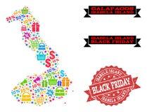 Collage de Black Friday del mapa de mosaico de las Islas Galápagos - de Isabela Island y del sello de la desolación ilustración del vector
