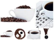 Collage de café et symbole ying de yang Photos stock