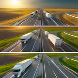 Collage de camiones de reparto rápidos en la falta de definición de movimiento en la carretera imagenes de archivo