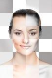 Collage de caras femeninas en maquillaje Imágenes de archivo libres de regalías