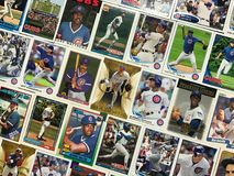 Collage de carte de collection de base-ball de Chicago Cubs photographie stock
