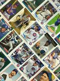 Collage de carte de collection de base-ball de Chicago Cubs images libres de droits