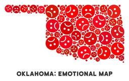 Collage de carte d'état de l'Oklahoma de crise de vecteur d'Emojis triste illustration de vecteur