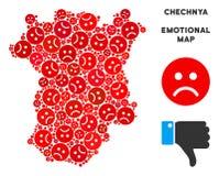 Collage de carte du Chechenie de crise de vecteur des smiley tristes illustration stock