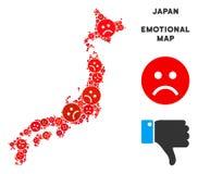 Collage de carte du Japon de tristesse de vecteur des smiley tristes illustration libre de droits