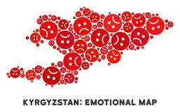 Collage de carte du Kirghizistan de crise de vecteur des smiley tristes illustration libre de droits