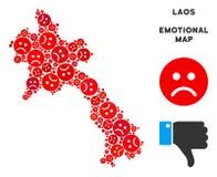 Collage de carte du Laos de tristesse de vecteur des smiley tristes illustration stock