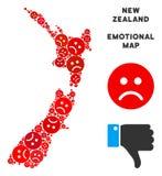Collage de carte du Nouvelle-Zélande de Dolor de vecteur des smiley tristes illustration de vecteur