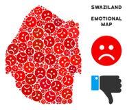 Collage de carte du Souaziland de crise de vecteur des smiley tristes illustration libre de droits