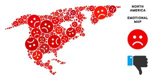Collage de carte de l'Amérique du Nord de tristesse de vecteur des smiley tristes illustration libre de droits