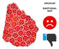 Collage de carte de l'Uruguay de tristesse de vecteur des smiley tristes illustration de vecteur