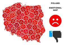 Collage de carte de la Pologne de tristesse de vecteur d'Emojis triste illustration stock