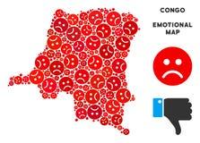 Collage de carte de la République démocratique du Congo de tristesse de vecteur d'Emojis triste illustration stock