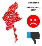 Collage de carte de Myanmar de tristesse de vecteur d'Emojis triste illustration stock