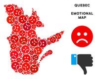 Collage de carte de province du Québec de tristesse de vecteur d'Emojis triste illustration de vecteur