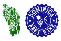 Collage de carte de vin de raisin de filigrane grunge de Dominica Island et du meilleur vin illustration stock