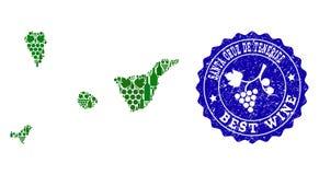 Collage de carte de vin de raisin de Santa Cruz De Tenerife Spanish Province et du meilleur timbre de vin illustration de vecteur