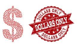 Collage de coeur d'amour d'icône de symbole du dollar et de filigrane grunge illustration de vecteur