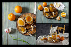 Collage de confiture d'oranges photo libre de droits