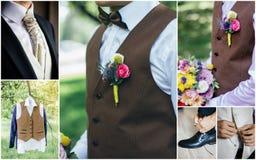 Collage de costume du mariage des hommes - costumes élégants de marié image stock
