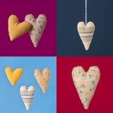 Collage de cuatro cuadrados coloridos con los corazones de la tela Fotografía de archivo