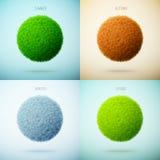 Collage de cuatro estaciones Resorte, verano, otoño, invierno Circ de la hierba Foto de archivo