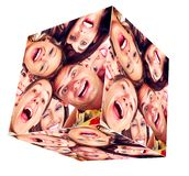 Collage de cube en sourire de personnes. photographie stock libre de droits