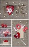 Collage de décorations de jour du ` s de Valentine avec les coeurs, la dentelle et les perles Photographie stock libre de droits