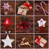 Collage de décorations de Noël photographie stock libre de droits