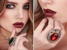 Collage de deux portraits de beauté de plan rapproché de jeune femme portant r photo stock