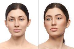 Collage de deux portraits de modèle avec sur le fond pur photos stock