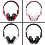 Collage de différentes couleurs d'écouteurs image stock
