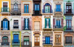 Collage de différentes fenêtres espagnoles colorées image stock
