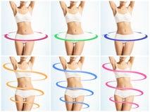 Collage de différentes photos de corps féminin avec des flèches de dessin Image stock