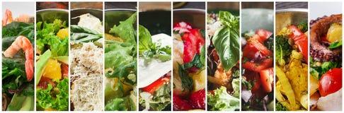 Collage de différentes salades fraîches savoureuses de restaurant photographie stock libre de droits
