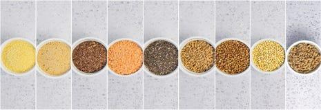 Collage de différents gruaux sur le fond gris Vue sup?rieure de sarrasin, chia, lin, amaranthe, lentilles, couscous, bl? images stock