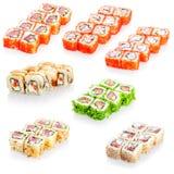 Collage de divers menu de restaurant japonais de sushi sur le fond blanc Image stock