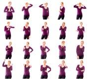 Collage de diversas expresiones faciales Foto de archivo