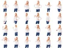 Collage de diversas expresiones faciales Fotos de archivo libres de regalías