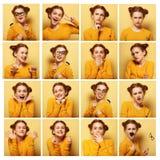 Collage de diversas expresiones faciales de la mujer joven Fotografía de archivo libre de regalías