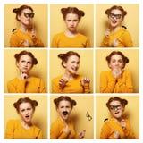 Collage de diversas expresiones faciales de la mujer joven Fotos de archivo libres de regalías