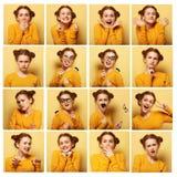 Collage de diversas expresiones faciales de la mujer joven Imagenes de archivo