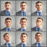 Collage de diversas fotos del hombre joven Imagen de archivo libre de regalías