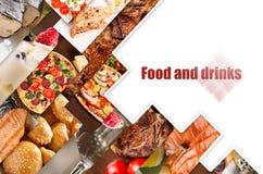 Collage de diversas imágenes de la comida Foto de archivo