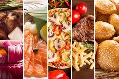 Collage de diversas imágenes de la comida Imagen de archivo libre de regalías