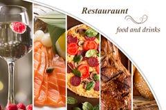 Collage de diversas imágenes de la comida Fotos de archivo