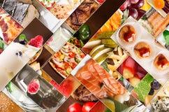 Collage de diversas imágenes de la comida Imagenes de archivo