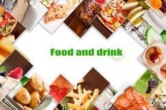 Collage de diversas imágenes de la comida Foto de archivo libre de regalías